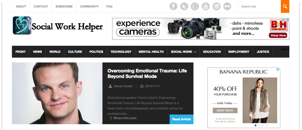 Overcoming Emotional Trauma Featured on Front Page of SocialWorkHelper.com Magazine click to read their review